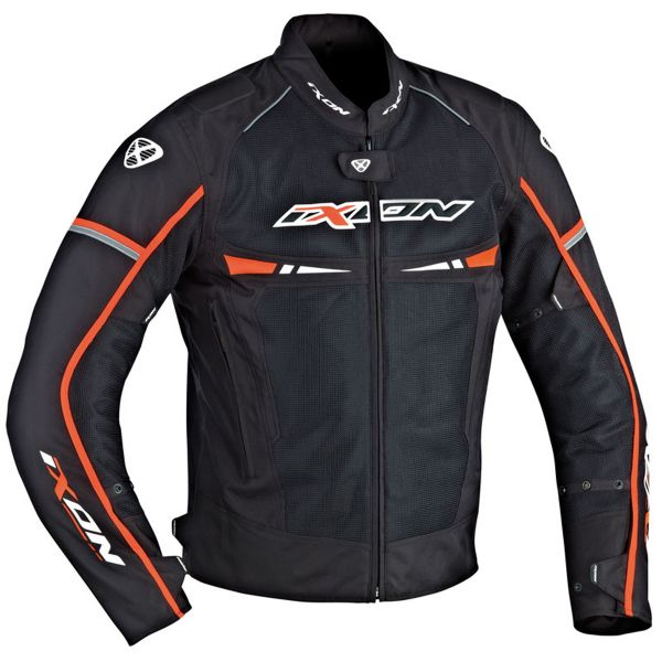 Blouson Moto Ixon Pitrace Black White Orange