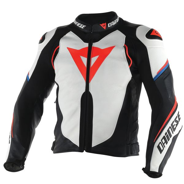 Blouson Moto Dainese Super Speed D1 White Black Red Fluo