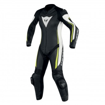 Combinaison Moto Cuir Dainese Assen 1PC Perf Lady Black White Yellow Fluo