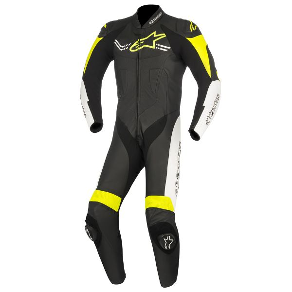 combinaison moto cuir alpinestars challenger v2 black white yellow fluo en stock. Black Bedroom Furniture Sets. Home Design Ideas