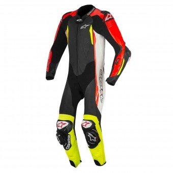 Combinaison Moto Cuir Alpinestars GP Tech V2 Black White Red Fluo Yellow