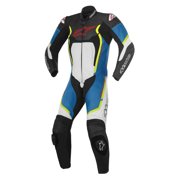 combinaison moto cuir alpinestars motegi v2 black white blue yellow fluo en stock. Black Bedroom Furniture Sets. Home Design Ideas