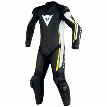 Combinaison Moto Cuir Dainese Assen 1PC Perf Black White Yellow Fluo