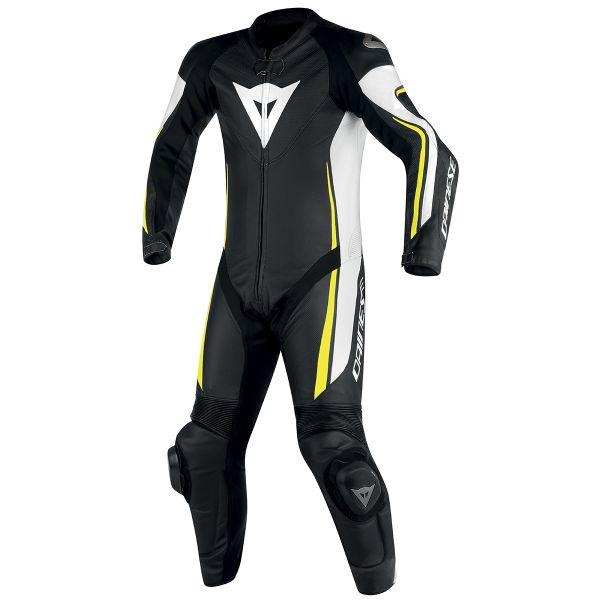 Combinaison Moto Cuir Dainese Assen 1PC Perf Black White Yellow Fluo