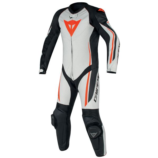 Combinaison Moto Cuir Dainese Assen 1PC Perf White Black Red Fluo