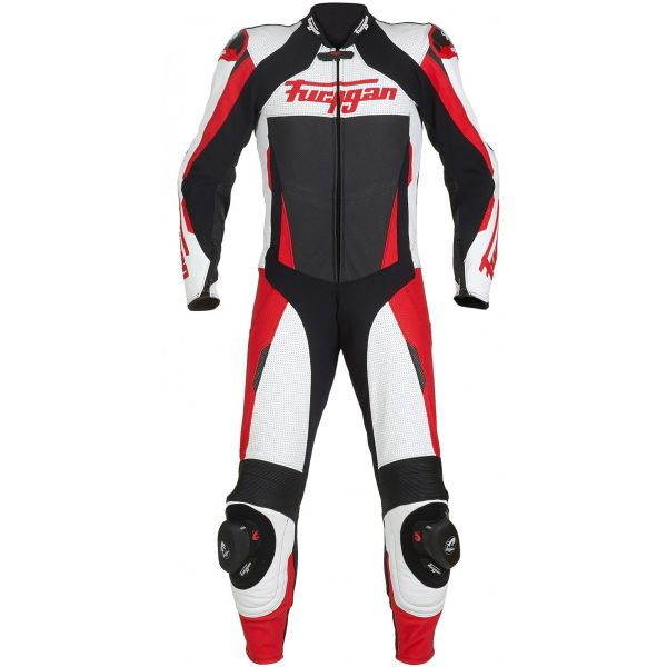 Combinaison Moto Cuir Furygan Full Apex White Red Black