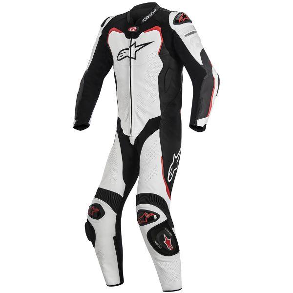 Combinaison Moto Cuir Alpinestars GP PRO Tech Air Bag Compatible White Black Red