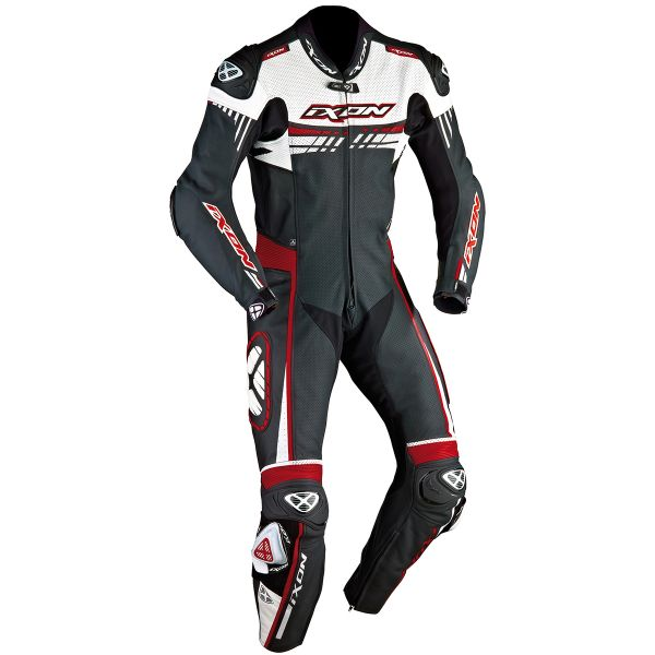 Combinaison Moto Cuir Ixon Mirage Noir Blanc Rouge Vif