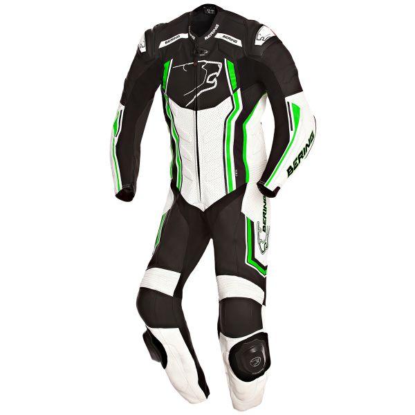 Combinaison Moto Cuir Bering Supra-R Black White Green