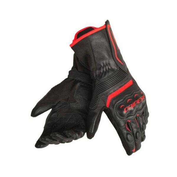 Gants Moto Dainese Assen Black Fluo Red