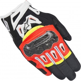 Gants Moto Alpinestars SMX-2 Air Carbon V2 Red Yellow Fluo