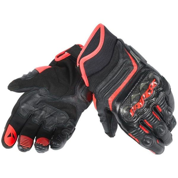Gants Moto Dainese Carbon D1 Short Black Red Fluo