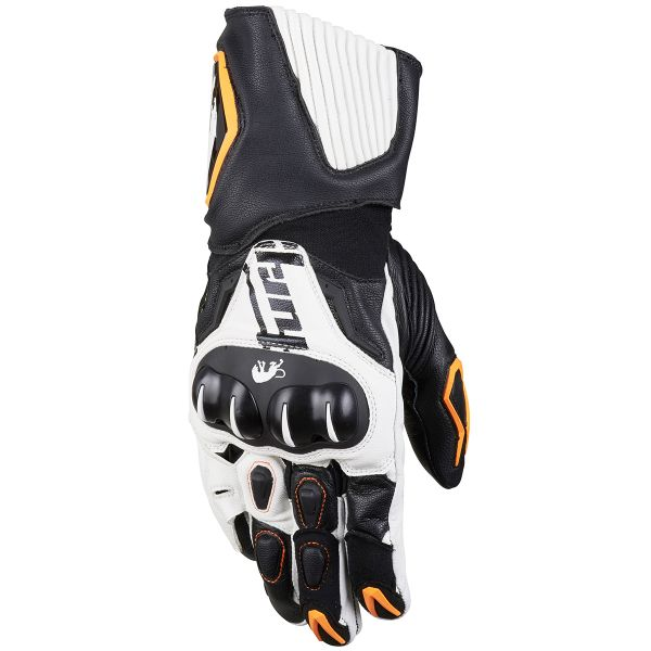 Gants Moto Furygan FIT-R Noir Blanc Orange Fluo