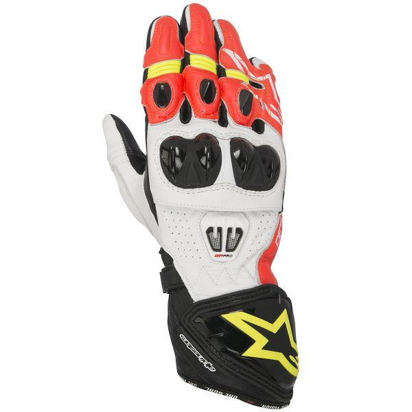Gants Moto Alpinestars GP PRO 2 Black Red Yellow Fluo