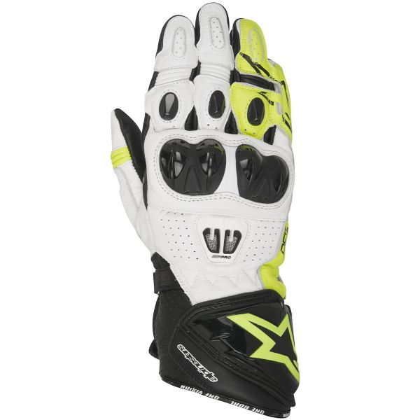 Gants Moto Alpinestars GP PRO 2 Black White Yellow Fluo