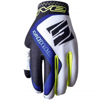 Gants Moto Five MX Practice White Blue