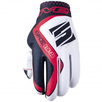 Gants Moto Five MX Practice White Red