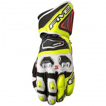 gants moto five rfx1 white yellow fluo au meilleur prix. Black Bedroom Furniture Sets. Home Design Ideas