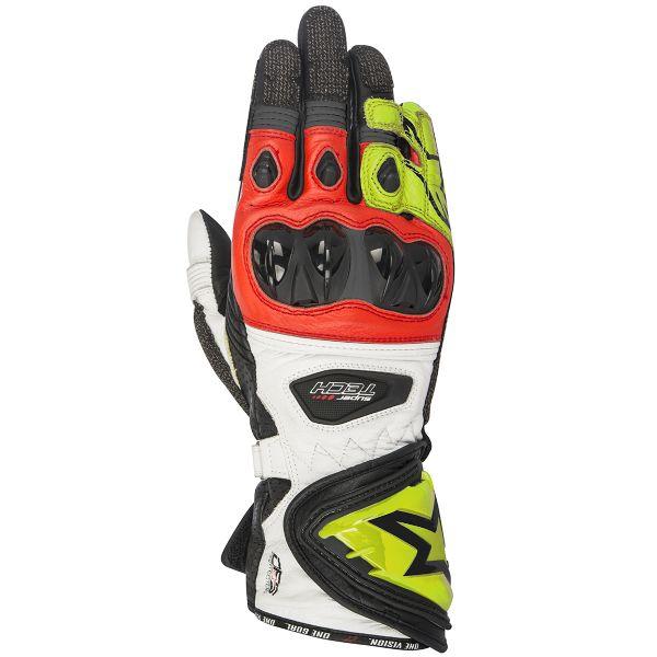 Gants Moto Alpinestars Supertech Black Yellow Fluo Red