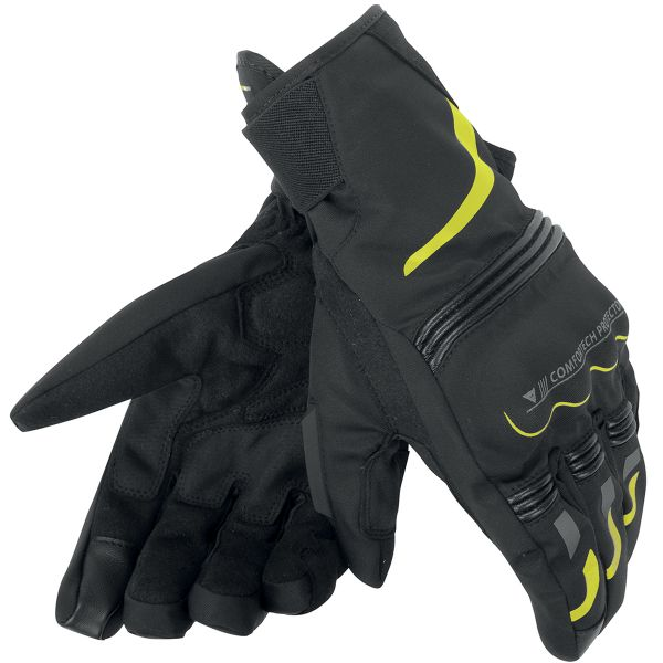 Gants Moto Dainese Tempest Unisex D-Dry Short Black Yellow