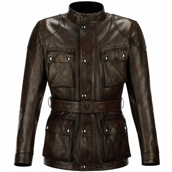 Blouson Moto Belstaff Classic Trophy Leather Black Brown