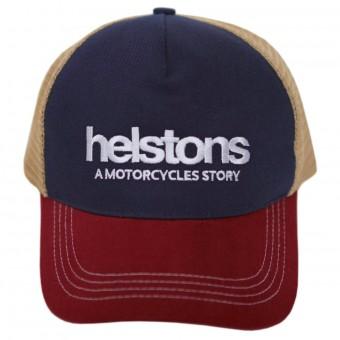 Casquettes Moto Helstons Casquette Trucker Bleu Bordeaux Beige