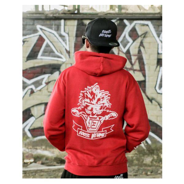 Pull 100 bitume hoodie asphalt red en stock - Boutique 100 bitume ...
