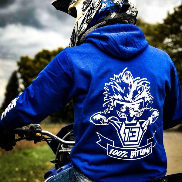 Pulls Moto 100% Bitume Hoodie Asphalt Blue