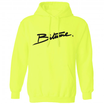 Pulls Moto 100% Bitume Hoodie Signature Big Yellow Fluo