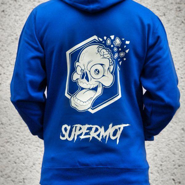Pulls Moto Kikaninac Sweat Hoodie Supermot Skull Bleu