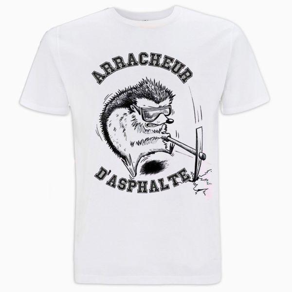 T-Shirts Moto 100% Bitume Arracheur d'Asphalte Blanc