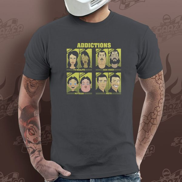 T-Shirts Moto Gaaz Addictions (Gris Fonce)