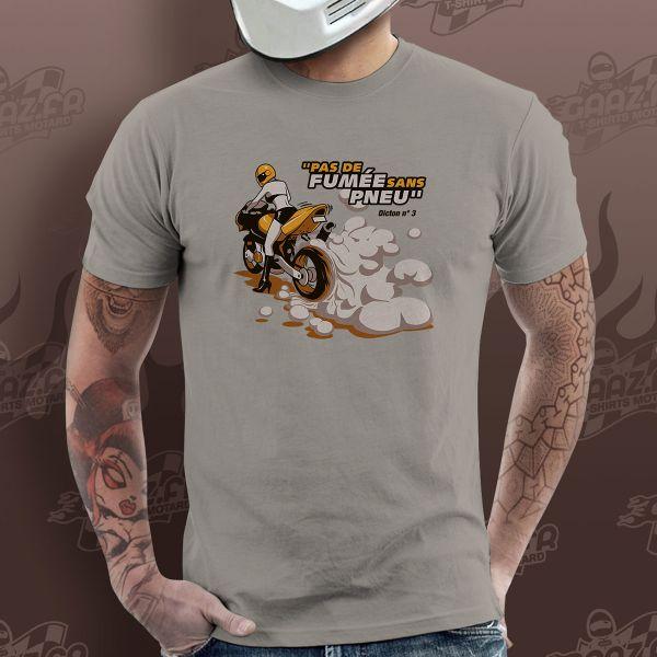 T-Shirts Moto Gaaz Pas de Fumee sans Pneu (Gris Clair)