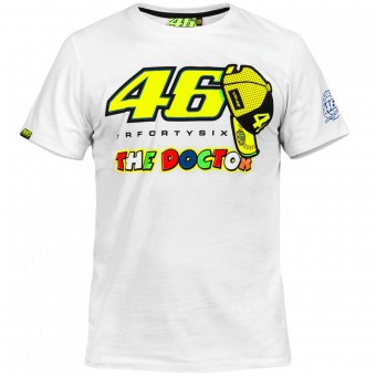 T-Shirts Moto VR 46 T-Shirt White Yellow VR46
