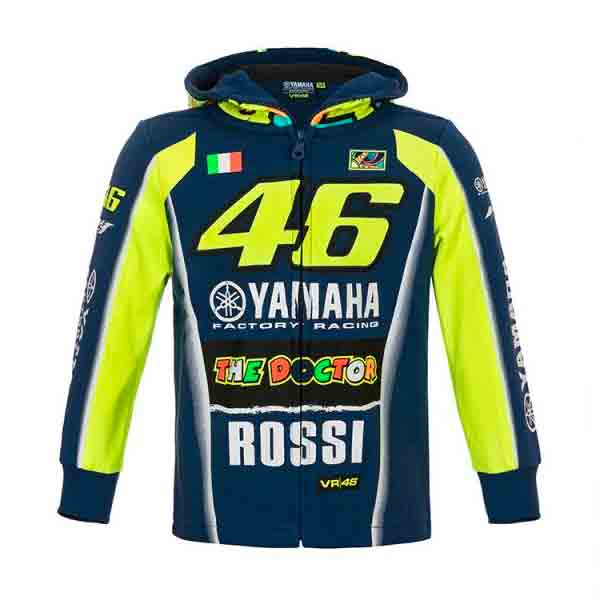 veste vr 46 hoodie zip kid racing yamaha vr46 bleu au meilleur prix. Black Bedroom Furniture Sets. Home Design Ideas
