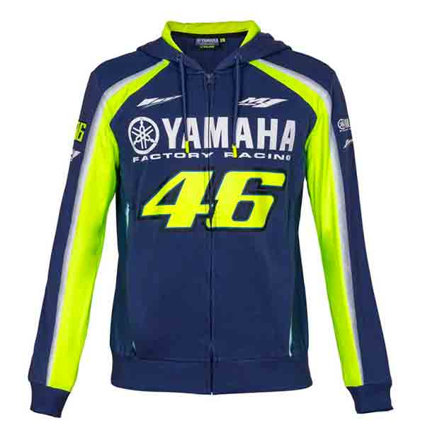veste vr 46 hoodie zip racing yamaha vr46 bleu au meilleur prix. Black Bedroom Furniture Sets. Home Design Ideas